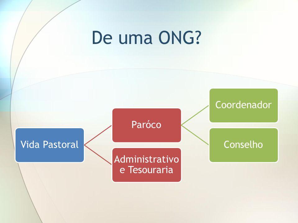 De uma ONG? Vida PastoralParócoCoordenadorConselho Administrativo e Tesouraria