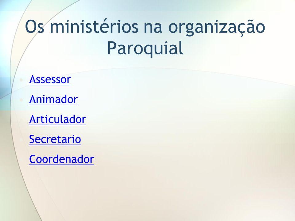 Os ministérios na organização Paroquial Assessor Animador Articulador Secretario Coordenador