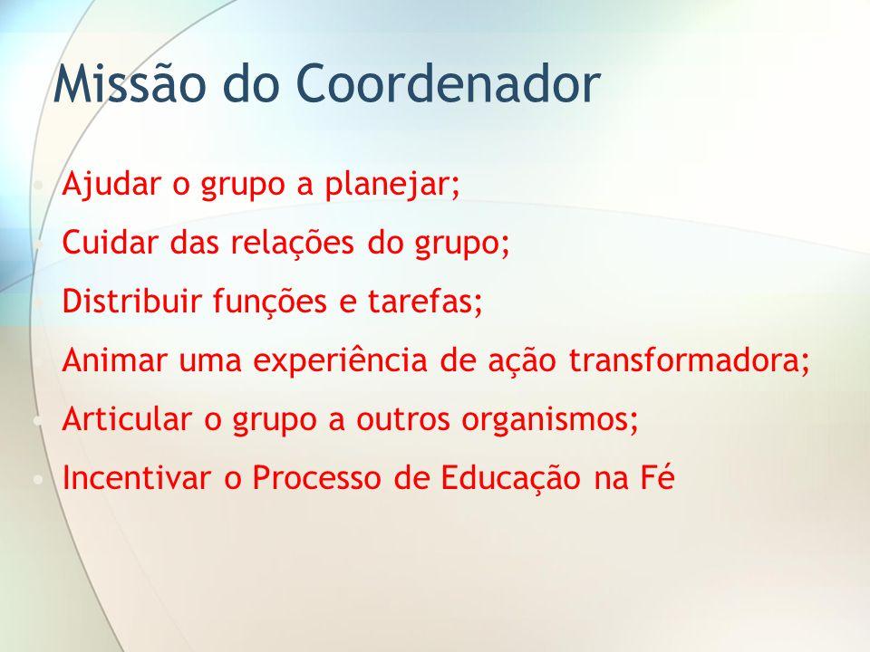 Missão do Coordenador Ajudar o grupo a planejar; Cuidar das relações do grupo; Distribuir funções e tarefas; Animar uma experiência de ação transforma