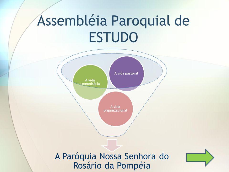 Assembléia Paroquial de ESTUDO A Paróquia Nossa Senhora do Rosário da Pompéia A vida organizacional A vida comunitária A vida pastoral