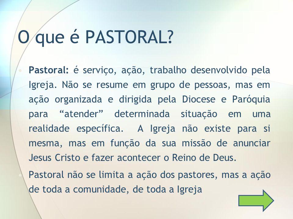 O que é PASTORAL? Pastoral: é serviço, ação, trabalho desenvolvido pela Igreja. Não se resume em grupo de pessoas, mas em ação organizada e dirigida p