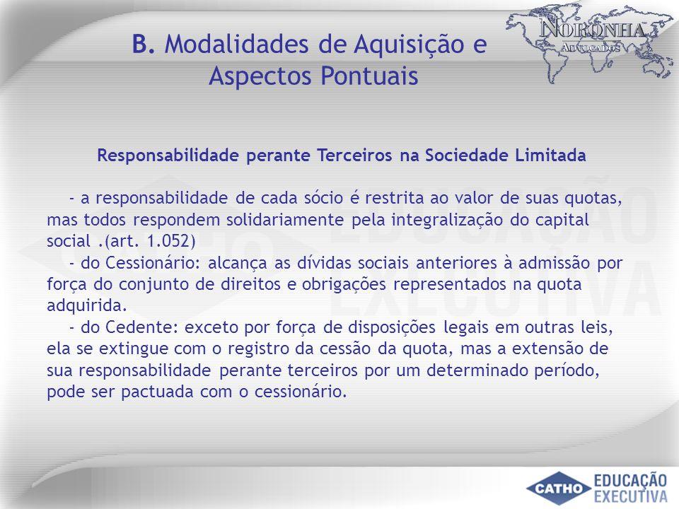 B. Modalidades de Aquisição e Aspectos Pontuais Responsabilidade perante Terceiros na Sociedade Limitada - a responsabilidade de cada sócio é restrita