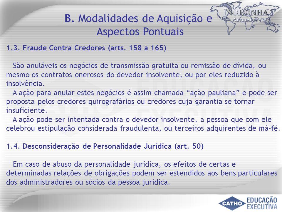1.3. Fraude Contra Credores (arts. 158 a 165) São anuláveis os negócios de transmissão gratuita ou remissão de dívida, ou mesmo os contratos onerosos