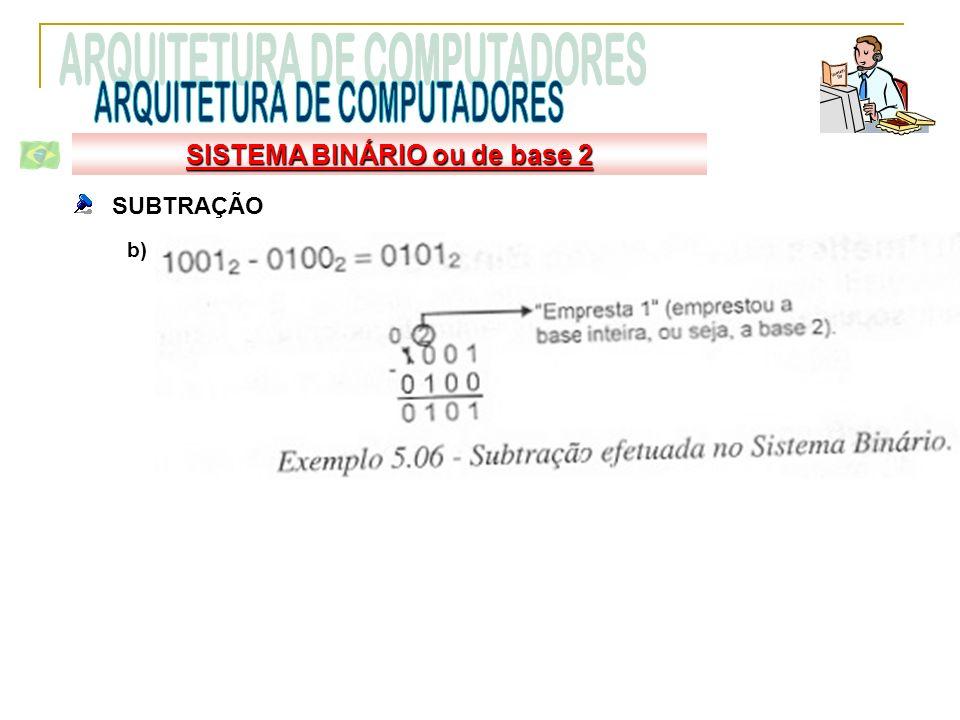 SUBTRAÇÃO b) SISTEMA BINÁRIO ou de base 2