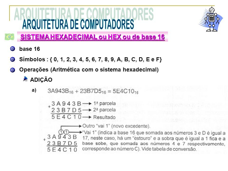 base 16 Símbolos : { 0, 1, 2, 3, 4, 5, 6, 7, 8, 9, A, B, C, D, E e F} Operações (Aritmética com o sistema hexadecimal) ADIÇÃO SISTEMA HEXADECIMAL ou H