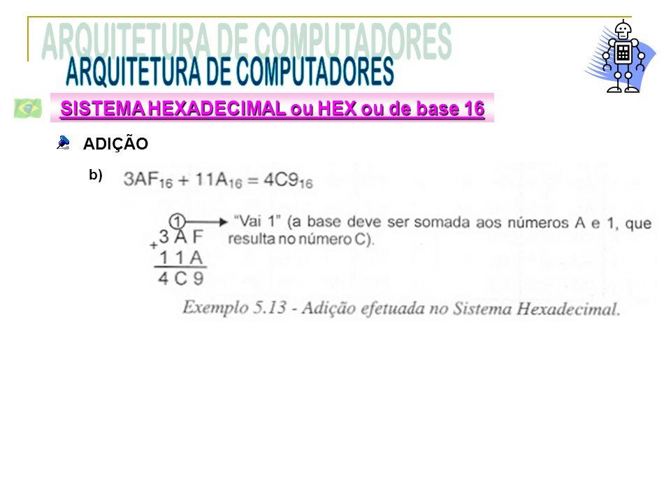 ADIÇÃO SISTEMA HEXADECIMAL ou HEX ou de base 16 b)