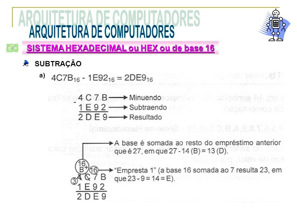SUBTRAÇÃO a) SISTEMA HEXADECIMAL ou HEX ou de base 16
