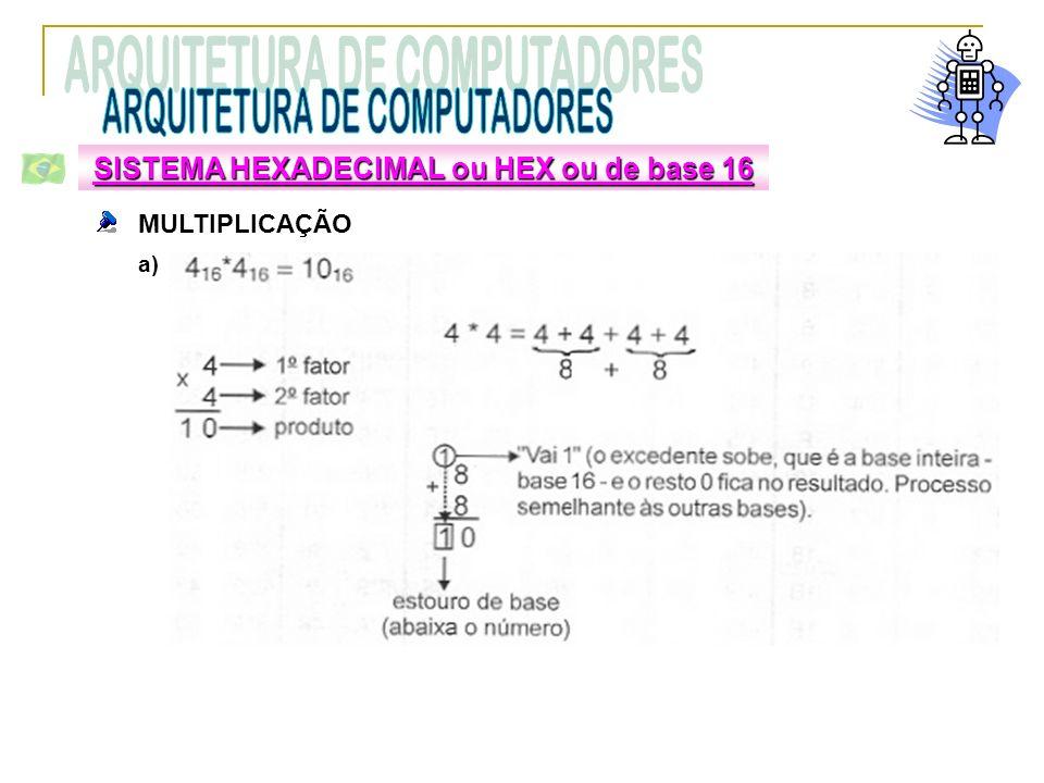 MULTIPLICAÇÃO a) SISTEMA HEXADECIMAL ou HEX ou de base 16