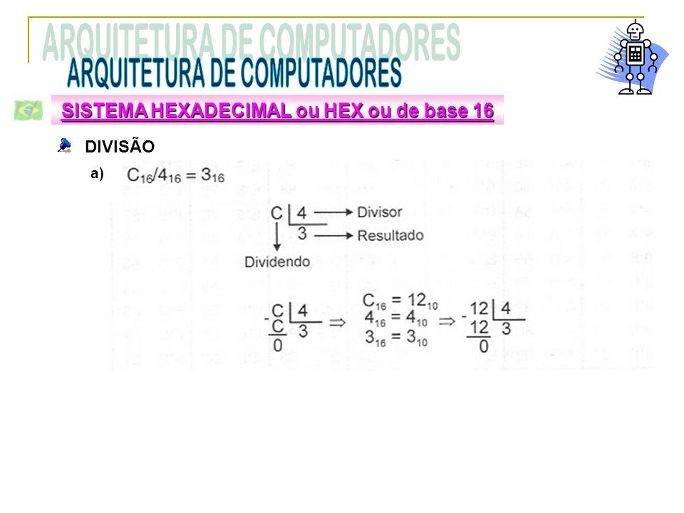 DIVISÃO SISTEMA HEXADECIMAL ou HEX ou de base 16 a)