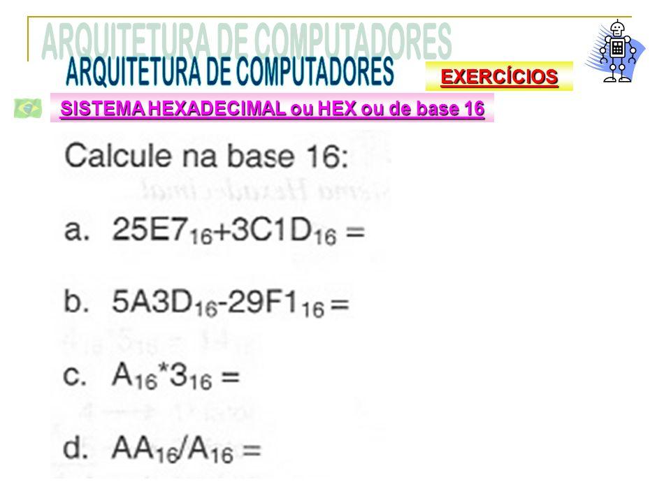 SISTEMA HEXADECIMAL ou HEX ou de base 16 EXERCÍCIOS