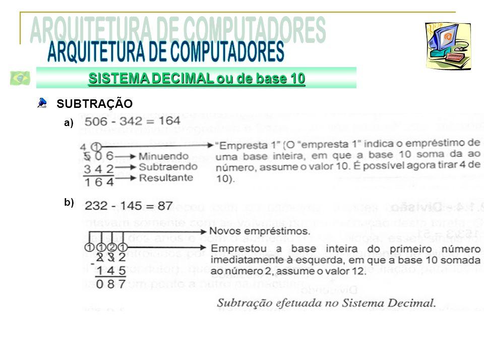 SUBTRAÇÃO a) b) SISTEMA DECIMAL ou de base 10