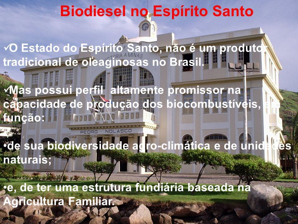 O Estado do Espírito Santo, não é um produtor tradicional de oleaginosas no Brasil. Mas possui perfil altamente promissor na capacidade de produção do