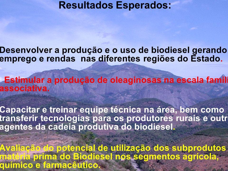 Resultados Esperados: Desenvolver a produção e o uso de biodiesel gerando emprego e rendas nas diferentes regiões do Estado. Estimular a produção de o