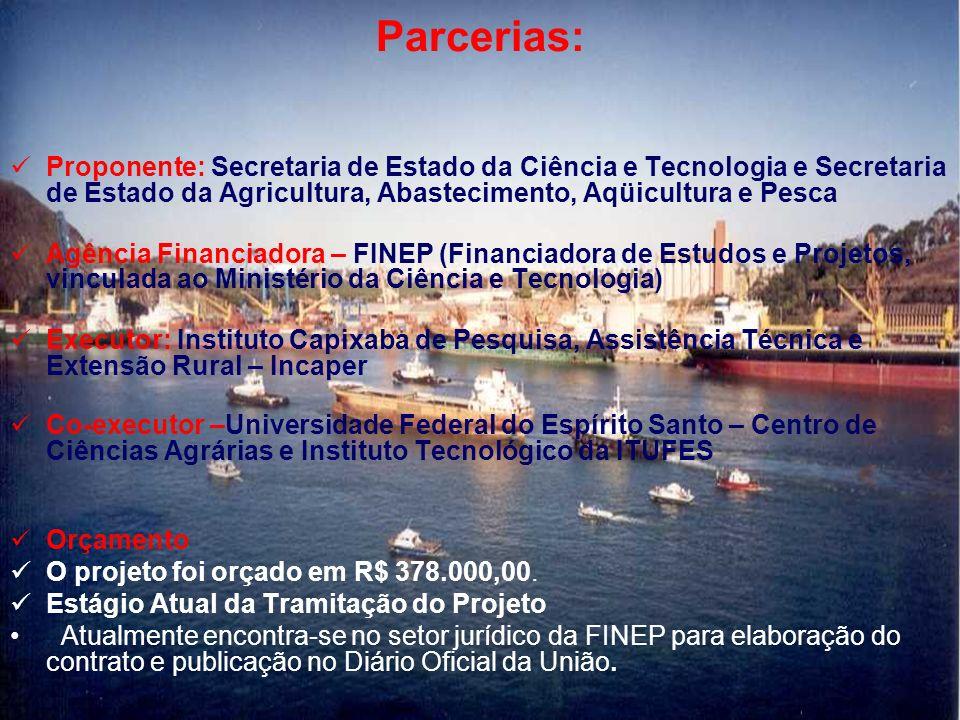 Parcerias: Proponente: Secretaria de Estado da Ciência e Tecnologia e Secretaria de Estado da Agricultura, Abastecimento, Aqüicultura e Pesca Agência