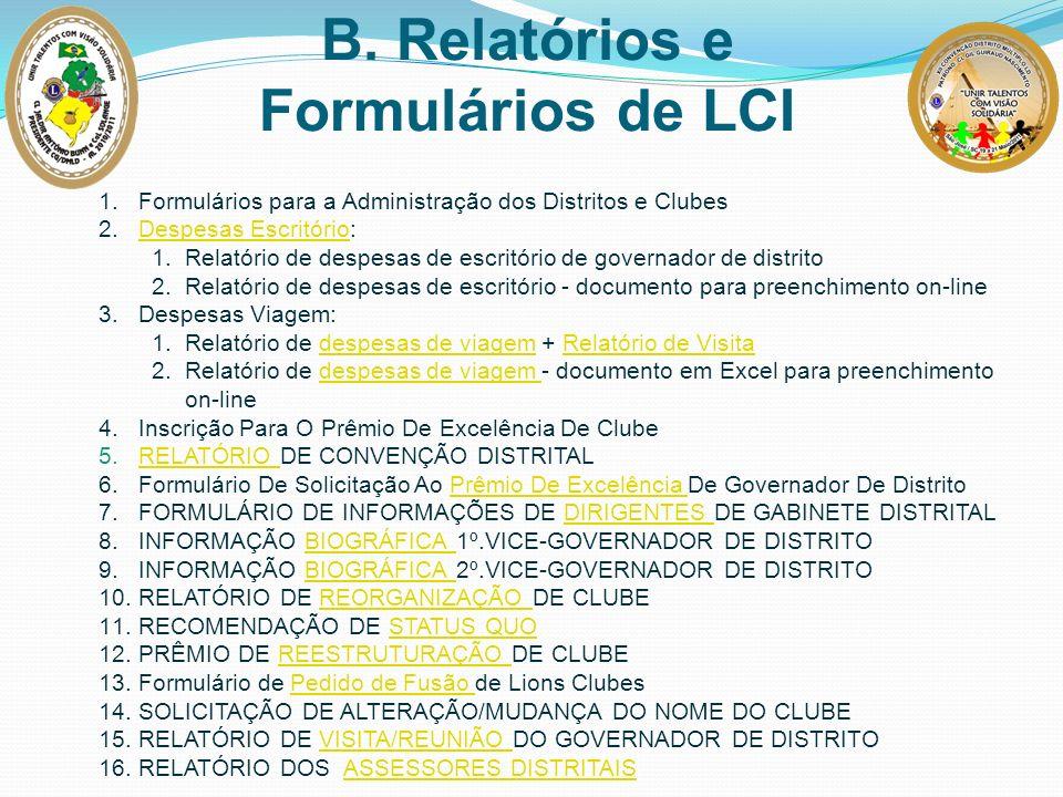 1.Formulários para a Administração dos Distritos e Clubes 2.Despesas Escritório:Despesas Escritório 1.Relatório de despesas de escritório de governado