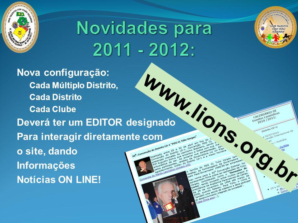 www.lions.org.br Nova configuração: Cada Múltiplo Distrito, Cada Distrito Cada Clube Deverá ter um EDITOR designado Para interagir diretamente com o s