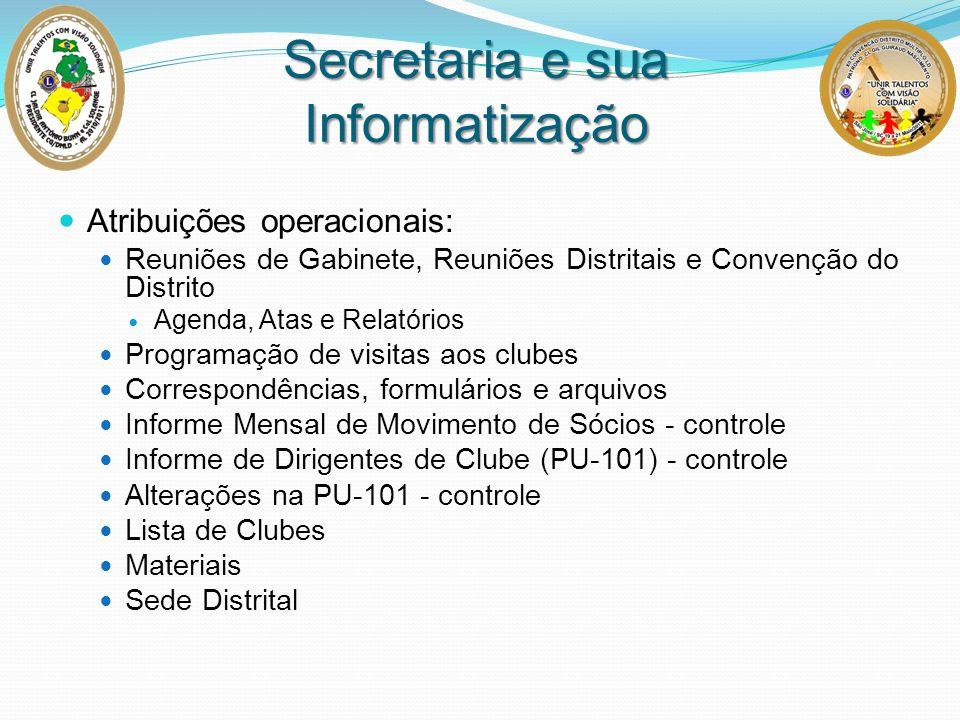 Secretaria e sua Informatização Atribuições operacionais: Reuniões de Gabinete, Reuniões Distritais e Convenção do Distrito Agenda, Atas e Relatórios