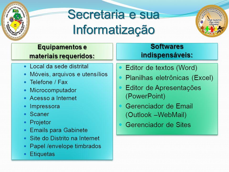 Equipamentos e materiais requeridos: Equipamentos e materiais requeridos: Softwaresindispensáveis:Softwaresindispensáveis: Local da sede distrital Móv