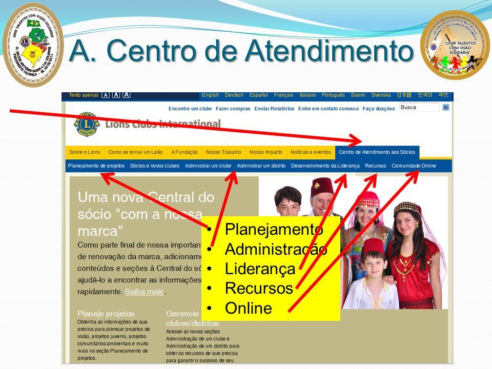 A. Centro de Atendimento Planejamento Administração Liderança Recursos Online