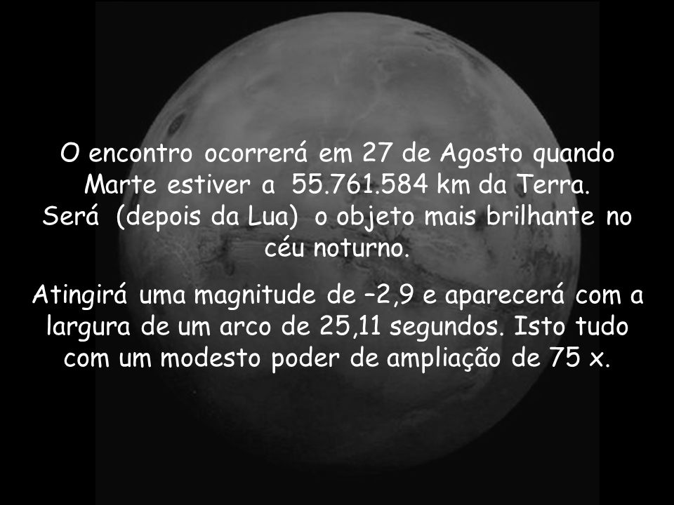 O encontro ocorrerá em 27 de Agosto quando Marte estiver a 55.761.584 km da Terra.