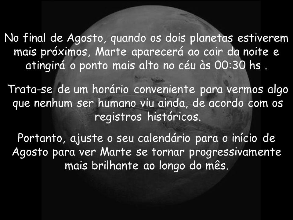 Será fácil localizar Marte. A olho nu, parecerá tão grande quanto a Lua cheia! Nos primeiros dias de Agosto, aparecerá a Leste, às 10 da noite, atingi