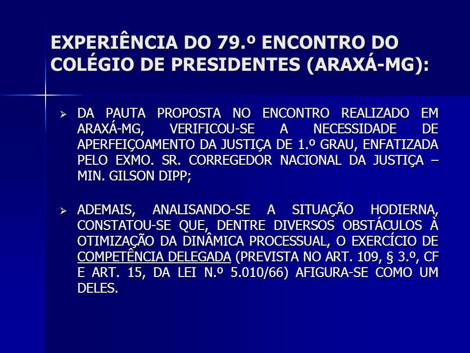 EXPERIÊNCIA DO 79.º ENCONTRO DO COLÉGIO DE PRESIDENTES (ARAXÁ-MG): DA PAUTA PROPOSTA NO ENCONTRO REALIZADO EM ARAXÁ-MG, VERIFICOU-SE A NECESSIDADE DE APERFEIÇOAMENTO DA JUSTIÇA DE 1.º GRAU, ENFATIZADA PELO EXMO.
