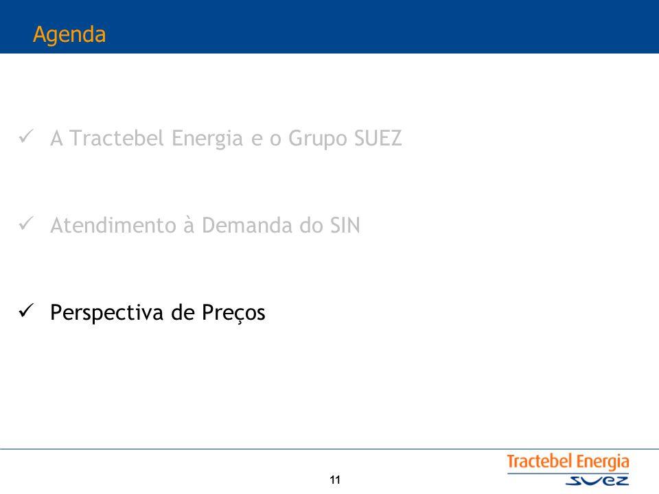 11 Agenda A Tractebel Energia e o Grupo SUEZ Atendimento à Demanda do SIN Perspectiva de Preços