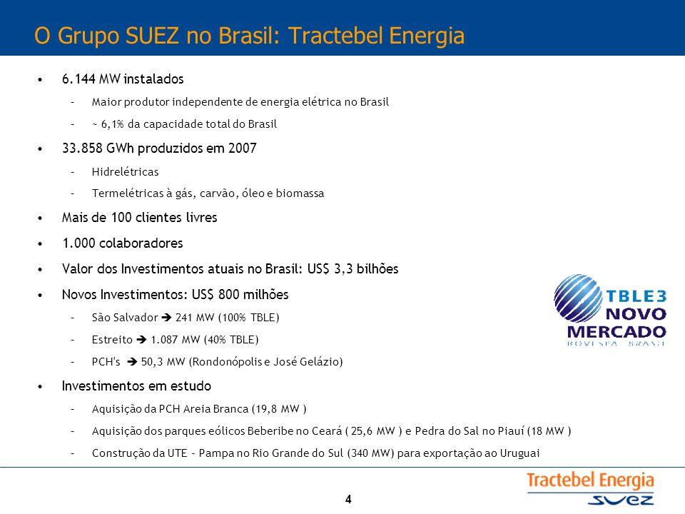 4 O Grupo SUEZ no Brasil: Tractebel Energia 6.144 MW instalados –Maior produtor independente de energia elétrica no Brasil –~ 6,1% da capacidade total
