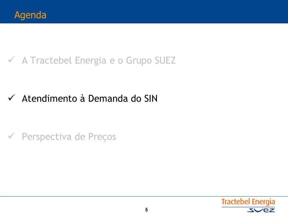 5 Agenda A Tractebel Energia e o Grupo SUEZ Atendimento à Demanda do SIN Perspectiva de Preços