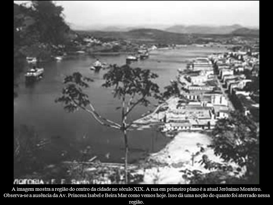 A imagem mostra a região do centro da cidade no século XIX. A rua em primeiro plano é a atual Jerônimo Monteiro. Observa-se a ausência da Av. Princesa
