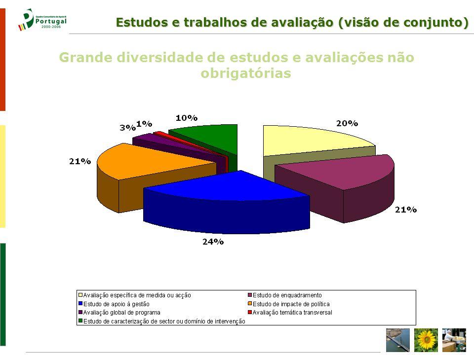 Estudos e trabalhos de avaliação (visão de conjunto) Grande diversidade de estudos e avaliações não obrigatórias