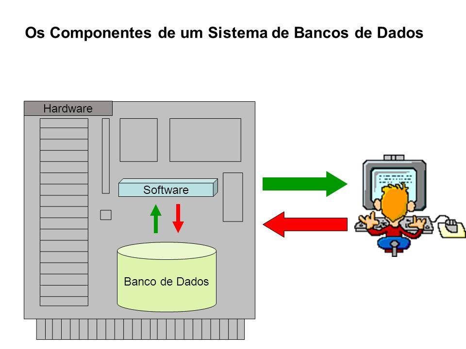 Os Componentes de um Sistema de Bancos de Dados Software Banco de Dados Hardware