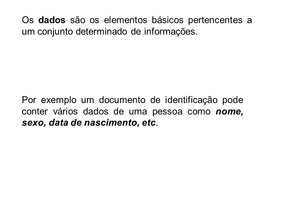 Os dados são os elementos básicos pertencentes a um conjunto determinado de informações. Por exemplo um documento de identificação pode conter vários