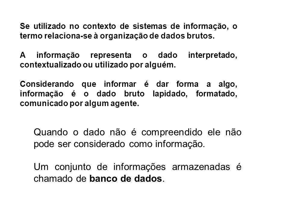 Se utilizado no contexto de sistemas de informação, o termo relaciona-se à organização de dados brutos. A informação representa o dado interpretado, c