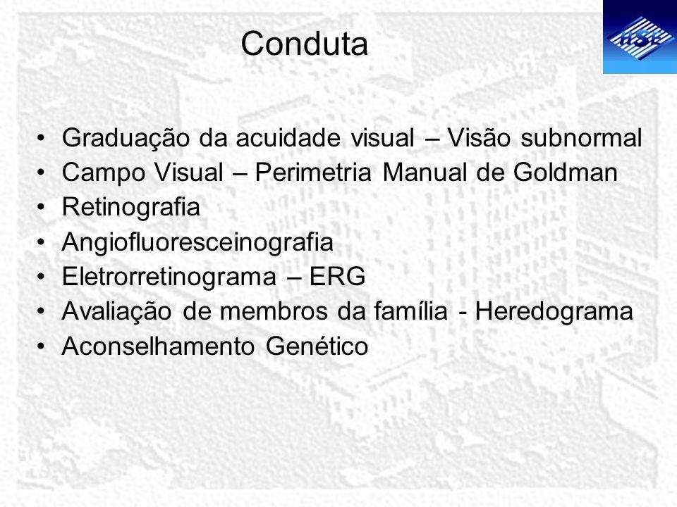 Conduta Graduação da acuidade visual – Visão subnormal Campo Visual – Perimetria Manual de Goldman Retinografia Angiofluoresceinografia Eletrorretinog