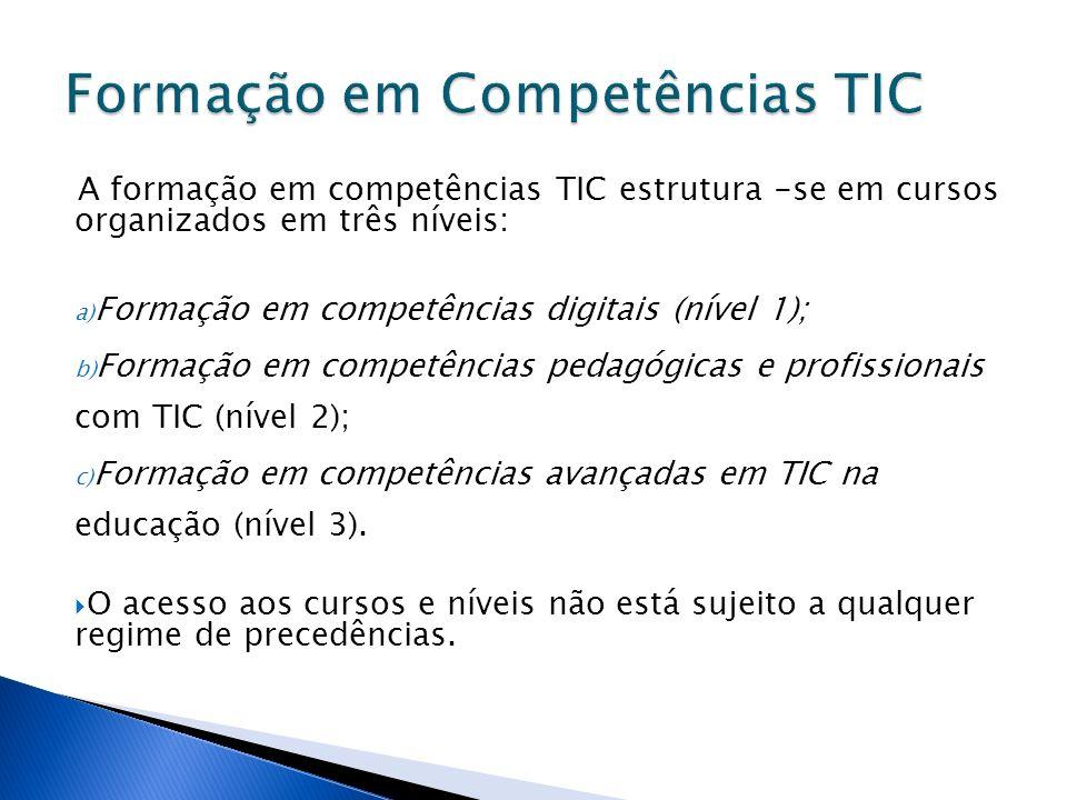 A formação em competências TIC estrutura -se em cursos organizados em três níveis: a) Formação em competências digitais (nível 1); b) Formação em competências pedagógicas e profissionais com TIC (nível 2); c) Formação em competências avançadas em TIC na educação (nível 3).