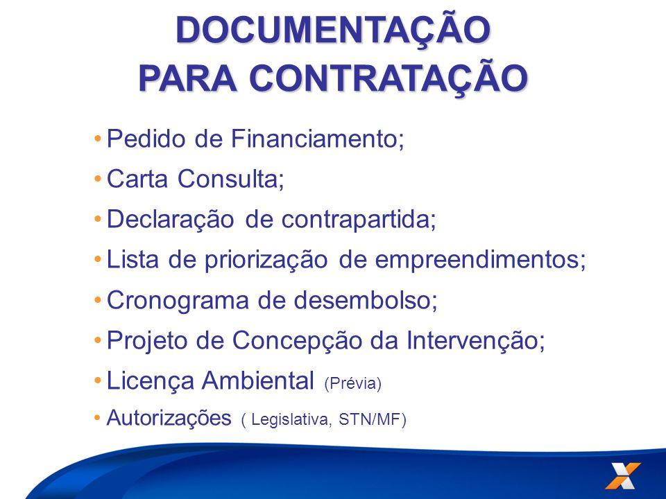Pedido de Financiamento; Carta Consulta; Declaração de contrapartida; Lista de priorização de empreendimentos; Cronograma de desembolso; Projeto de Co