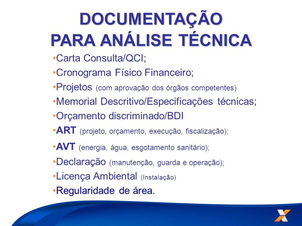 Carta Consulta/QCI; Cronograma Físico Financeiro; Projetos (com aprovação dos órgãos competentes) Memorial Descritivo/Especificações técnicas; Orçamen