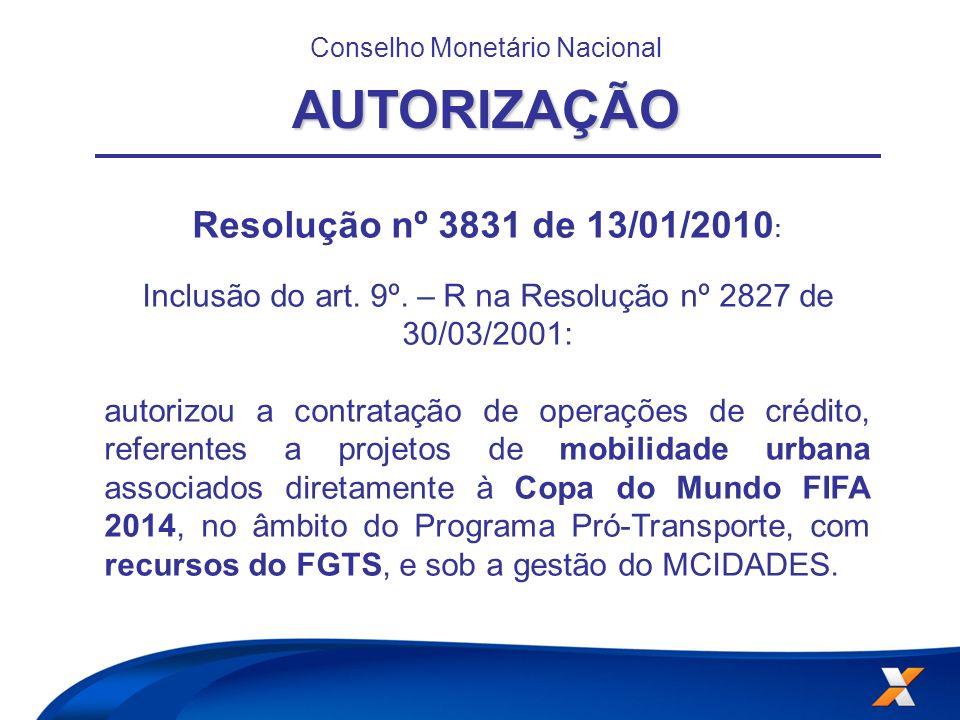 Resolução nº 3831 de 13/01/2010 : Inclusão do art. 9º. – R na Resolução nº 2827 de 30/03/2001: autorizou a contratação de operações de crédito, refere