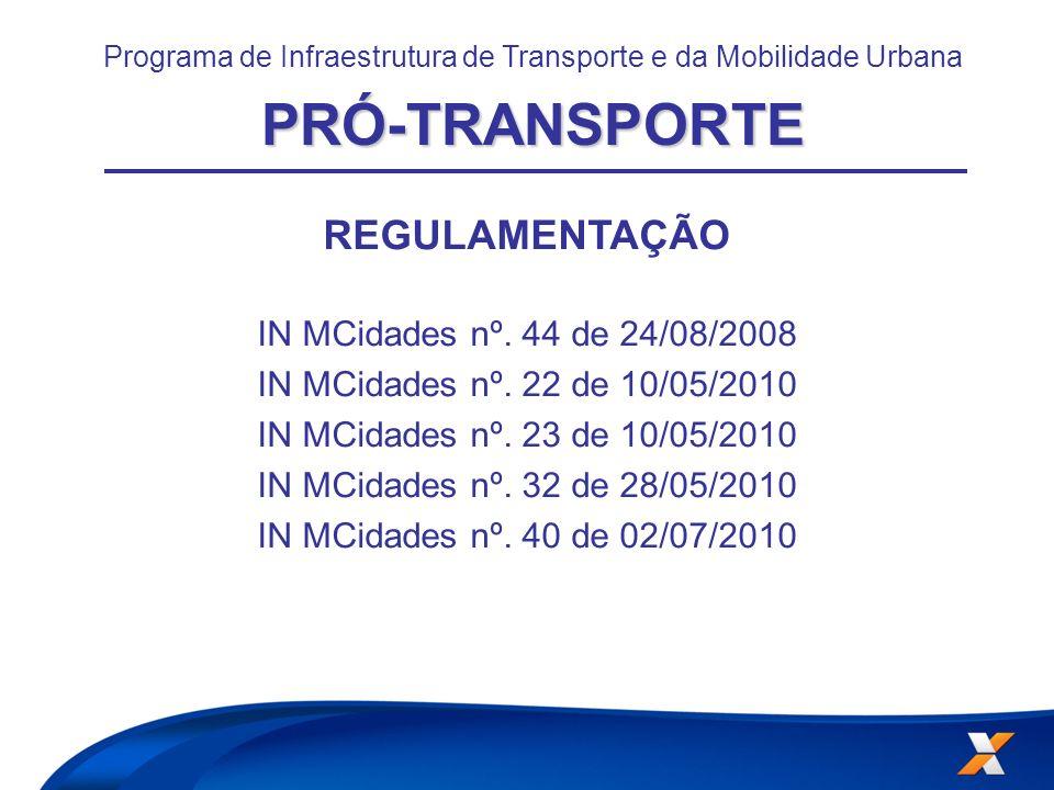 Programa de Infraestrutura de Transporte e da Mobilidade UrbanaPRÓ-TRANSPORTE REGULAMENTAÇÃO IN MCidades nº. 44 de 24/08/2008 IN MCidades nº. 22 de 10