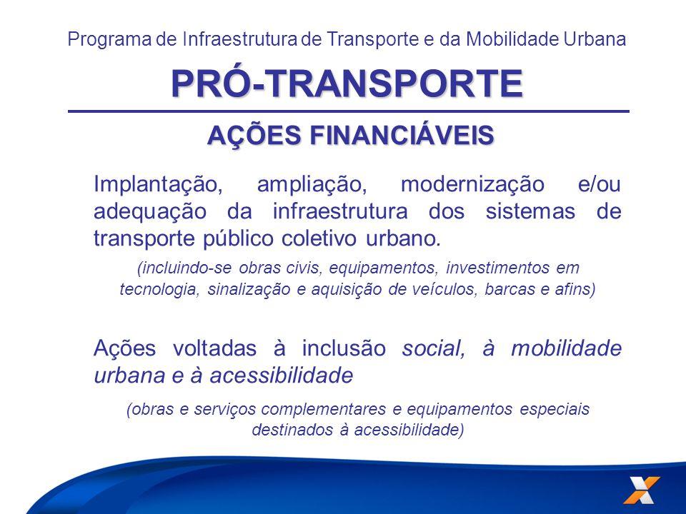 CONDIÇÕES CARÊNCIA: até 48 meses, a partir da assinatura do contrato, sendo permitida sua prorrogação por até metade do prazo de carência contratado; AMORTIZAÇÃO: até 20 anos (240 meses); JUROS: 6,0% ao ano 5,5% ao ano (para as ações financiáveis de sistemas de transporte sobre trilhos) Programa de Infraestrutura de Transporte e da Mobilidade UrbanaPRÓ-TRANSPORTE