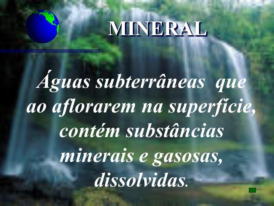 MINERALMINERAL Águas subterrâneas que ao aflorarem na superfície, contém substâncias minerais e gasosas, dissolvidas.