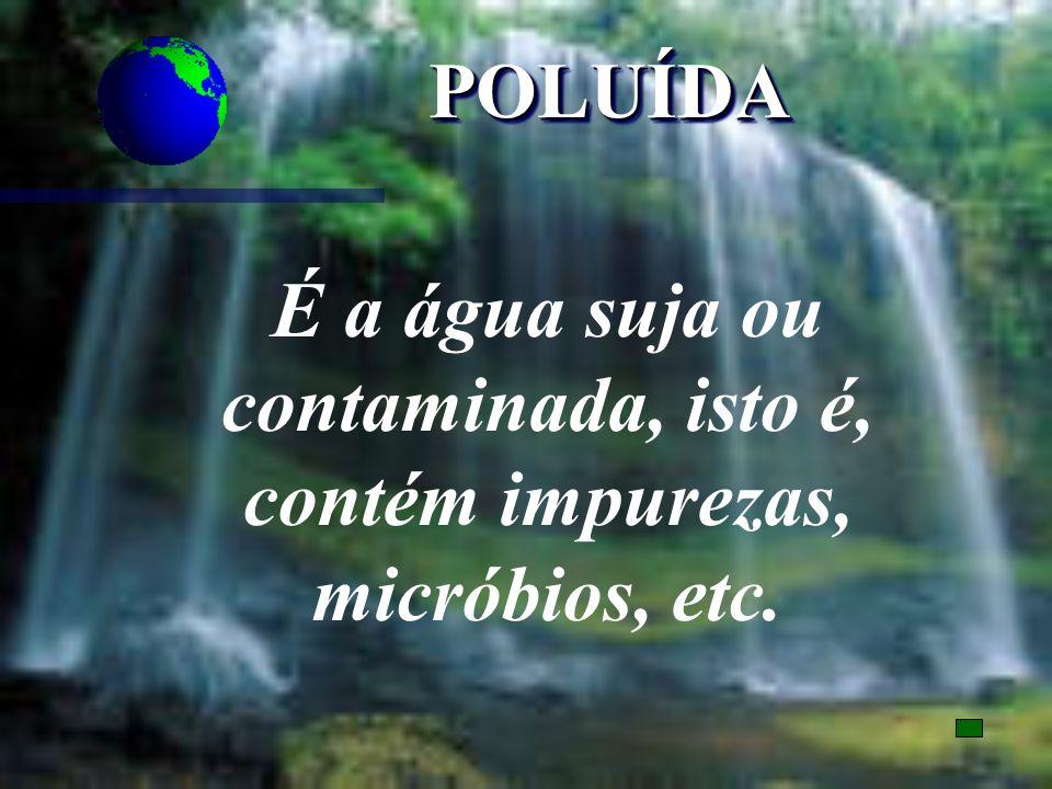 POLUÍDAPOLUÍDA É a água suja ou contaminada, isto é, contém impurezas, micróbios, etc.