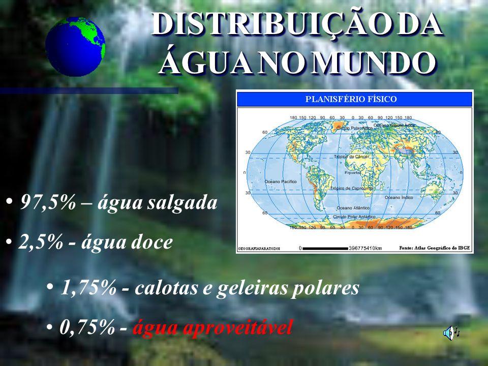 DISTRIBUIÇÃODA ÁGUANOMUNDO DISTRIBUIÇÃO DA ÁGUA NO MUNDO 97,5% – água salgada 2,5% - água doce 1,75% - calotas e geleiras polares 0,75% - água aprovei