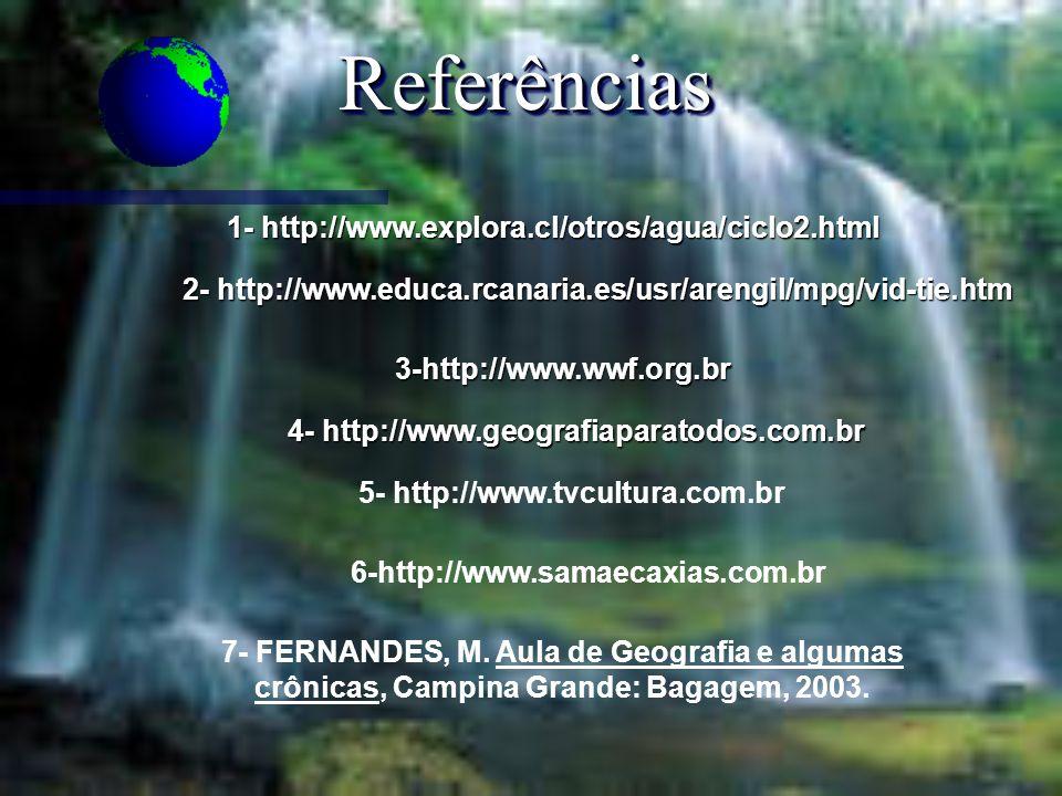 ReferênciasReferências 1- http://www.explora.cl/otros/agua/ciclo2.html 2- http://www.educa.rcanaria.es/usr/arengil/mpg/vid-tie.htm 3-http://www.wwf.or