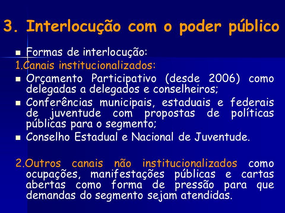 3. Interlocução com o poder público Formas de interlocução: 1.Canais institucionalizados: Orçamento Participativo (desde 2006) como delegadas a delega