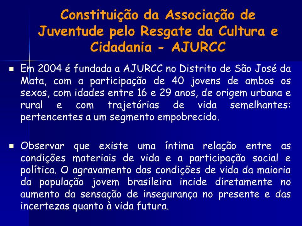 Constituição da Associação de Juventude pelo Resgate da Cultura e Cidadania - AJURCC Em 2004 é fundada a AJURCC no Distrito de São José da Mata, com a participação de 40 jovens de ambos os sexos, com idades entre 16 e 29 anos, de origem urbana e rural e com trajetórias de vida semelhantes: pertencentes a um segmento empobrecido.