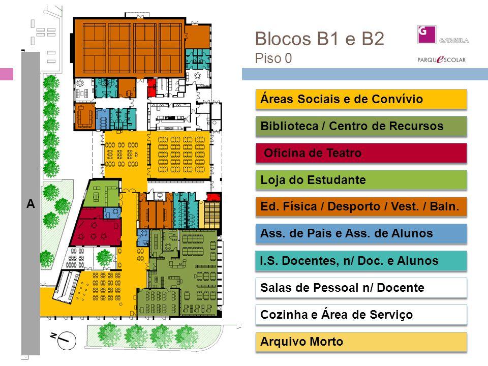 Blocos B1 e B2 Piso 0 Piso 0 Áreas Sociais e de Convívio Oficina de Teatro Biblioteca / Centro de Recursos Loja do Estudante Salas de Pessoal n/ Docen