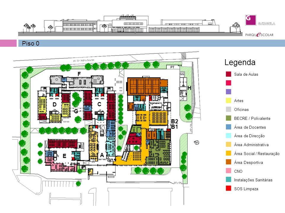 ….. Piso 0 Sala de Aulas Oficinas Artes BECRE / Polivalente Área de Docentes Área de Direcção Área Administrativa Área Social / Restauração Área Despo