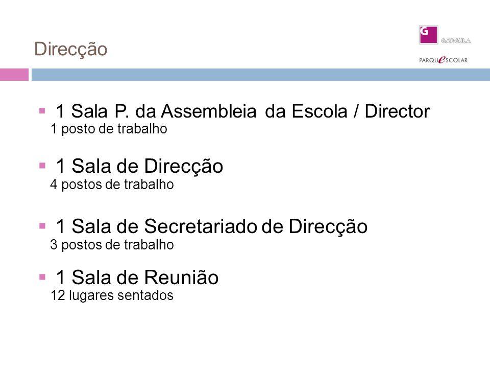 Direcção 1 Sala P. da Assembleia da Escola / Director 1 posto de trabalho 1 Sala de Direcção 4 postos de trabalho 1 Sala de Secretariado de Direcção 3